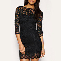 2013 New Fashion Bodycon Lady Women Lace Dress Slash O-Neck  Evening Mini Dress Black ,Free Shipping Wholesale