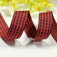 Ribbon 19mm plaid belt plaid belt diy hair accessory ribbon red black 18 50