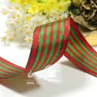 Ribbon 38mm Christmas ribbon Christmas plaid belt iron wire ribbon 18 10 red green