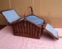 Rattan willow basket gift packing basket rattan basket food blue , picnic basket tools blue customize 1#