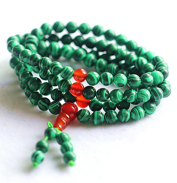 Bro942 budistas 108 contas malaquita meditação contas de oração Mala 6 mm natural pulseira pedra colar de lótus branco(China (Mainland))