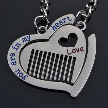 Valentine day gift comb fashion white couple key chain key hang