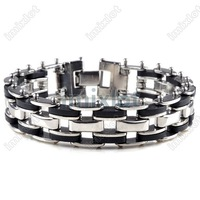Best gift Wholesale lot 6pcs/lot Free shipping silica gel stainless steel bracelet jewelry fashion bracelet