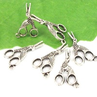 Free Shipping Wholesale Lots 40pcs Tibetan Silver Tone Alloy Scissors Charms Pendants TS9042
