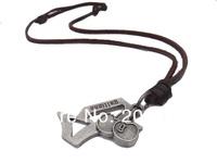 Fashion mens charm choker Cute little cherry metal pendant Genuine leather necklace p494