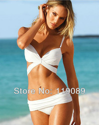 Drop shipping Fashion bikini swimwear female split big small push up wholesale price white and black S/M/L(China (Mainland))