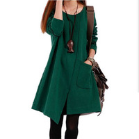 New fashion 2014 women's clothing national trend casual one-piece dress autumn winter dresses plus size dress for ladies _10