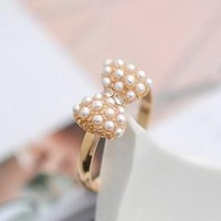 Min.order is $15 (mix order)New style 17.5mm size  fashion exquisite pearl bow ring for women J1442