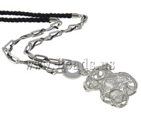 FREE SHIPPING Hot Sale Wholesale Jewelry Vintage Rhinestone Platinum plated Link Chains Bear Pendant Long Necklace 15.5""