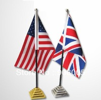 Free shipping:High quality satin table national flag(200 countries)/mini flags with base,flag size: 14x21cm, 20sets/lot