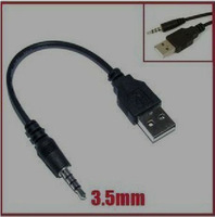 Free shipping !3.5mm to USB data Cable USB DATA Sync Adapter Cable for iPod Shuffle 2nd Gen mp3 mp4 phone