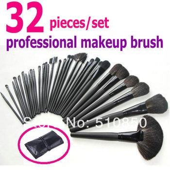 Free shipping professional makeup brush set 32 pieces/set black brush with black bag make up tool