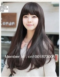 Free shipping /The new fashion charm personality popular waves rolled dark brown lady's wig Hign-temperature resistance fibre(China (Mainland))