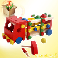 Ball screw car child wooden puzzle assembling nut car multifunctional car toys ty003