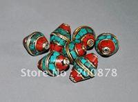 DIY Loose Beads  NBB205  Nepal metal brass loose beads,vintage flower turquoise loose spacers,12*18mm,10 beads lot