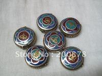 DIY Loose Beads  NBB355  Tibetan handmade brass beads,24x9mm,Buddha eye,OM,Kalachakra amulet symbols,mix order