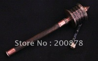 TBC866  Tibetan handheld metal mantras Prayer Wheel,over 8 inches,OM MANI PADME HUM mani wheel