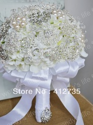 EMS Free Shipping,White silver brooch beadwork bride hand flowers/wedding bouquet /decorative flowers with ribbons(China (Mainland))
