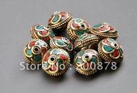 DIY Loose Beads  NBB226  Nepal metal brass loose beads,vintage flower turquoise loose spacers,13*9mm,10 beads lot