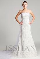 Strapless Applique Slim-Line Tulle Bridal Court Train Wedding Dress Wedding Dresses Free Shipping