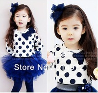 Best selling!!Kids Clothes 2 PCS Set T Shirt And Tutu For Girls 2013 New Dresses free shipping
