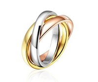 18k rose gold plated real gold jewelry brief circle ring lovers birthday gift High quality,not lose color,antiallergic #RI100848
