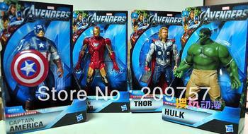 4 pcs Marvel The Avengers Iron Man + Hulk + Thor + Captain America Action Figures Toy Figures 8''