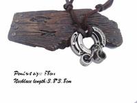 mens charm choker Longevity lock pendant Genuine leather necklace p487