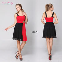 HE03651RD  Black Red Chiffon Rhinestone Padded Ruffles Cocktail Dress