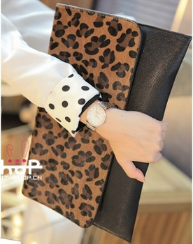 New 2013 fashion day clutch leopard print bag women's handbag big clutch bag have Shoulder Strap Fast shipping Fast shipping