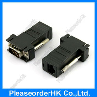 2pcs Black VGA Extender Male to LAN CAT5 CAT5e RJ45 Female Port Adapter Free Shipping