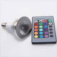 1pc/lot  E14  16Color Change RGB LED Light Bulb Lamp 220V +IR Remote Control  630034