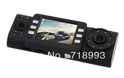 "Car DVR X4000 w/ 2.0"" TFT LCD Dual lens 16 IR LED Night Vision Camera Car Black Box ,Freeshipping(China (Mainland))"