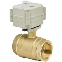 2 wires DC12/24V 1 1/4'' Brass actuator ball valve DN32 control with manual override for fan coil