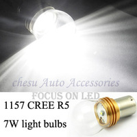 Car Bulbs 1157 CREE R5 7W High Power Auto LED Tail Lights Brake Lamps P21-5W White  color to chose in free shipping