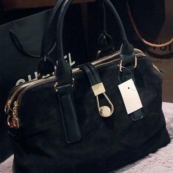 2015 autumn and winter scrub genuine leather patchwork hasp handbag cross-body color block women's handbag