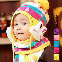Baby hat scarf male girls clothing autumn and winter thermal ear child baby yarn muffler scarf