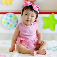 Baby girls lace princess pink romper wears bow rompers baby clothing ,0024