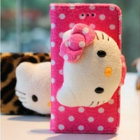 FREE SHIPPING! 2013 New Arrival Cute Cartoon Leather Plush dolls Hello Kitty Wallet Cover for Apple iPhone 5 4g 4s