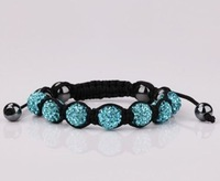 Shamballa Macrame bracelets light Blue AAA Crystal Disco 7 Ball/Beads Bracelet Mixed Order YZ69