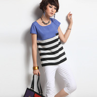 2013 spring stripe short-sleeve chiffon t-shirt women's all-match slim chiffon top female cs0208