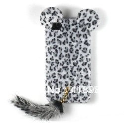 Wholesale+ free shipping TPU Soft 3D Furry Leopard Cover Case Skin For Apple iPhone 4 4G 4S Latest(China (Mainland))