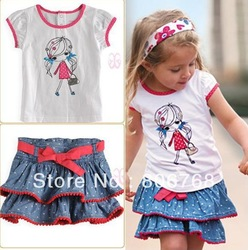 Free Shipping! 2013 new arrive baby pure cotton clothes set cartoon girl suits summer kid T shirt + skirt 2 pcs suit(China (Mainland))