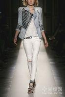New Women 2013 ladies' Shrug jean jacket Military-Style Denim Jacket chain coat Free Shipping