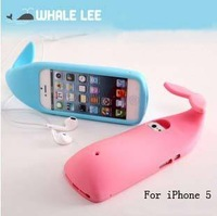 Free Shipping! Newest Creative 3D Cute Whale Silicone Case Stand for iphone 5,Cartoon Whale soft Case Cover For iphone 5 5g