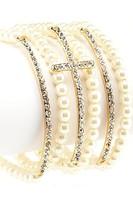 Mix $10  Beaded Stretch Rhinestone Multi Cross Bracelet
