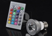 NEW! 16 Color RGB E27 3W 180LM LED Light Bulb Lamp AC 85~265V + Remote Control EL30 Wholesale!