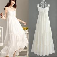 Free shipping 069006 bohemia beach holiday spaghetti strap high quality white dress