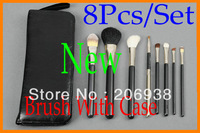 2PCS Best Selling Brush Professional 8 Pieces/Set brush + leather Pouch Fast Shipping .