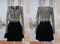Women Elegant Slim OL Spring Autumn Dress Stripe Lace Patchwork Long Sleeve